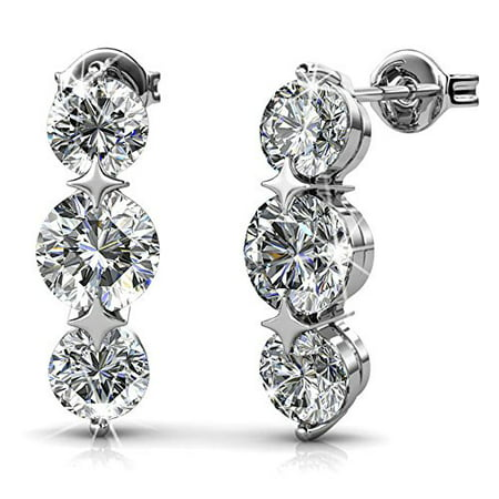 Cate & Chloe Ellie 18k White Gold Earrings with Swarovski Crystal, Triple Round Cut Solitaire Diamond Sparkling Crystal Drop Earring Set, Stud Earrings - MSRP $132