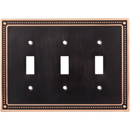 - Franklin Brass Classic Beaded Triple Switch Wall Plate in Bronze with Copper Highlights