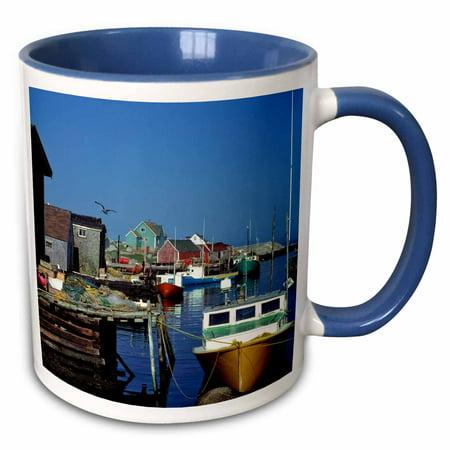 3dRose Nova Scotia, Peggys Cove, fishing village -CN07 RER0006 - Ric Ergenbright - Two Tone Blue Mug, 11-ounce