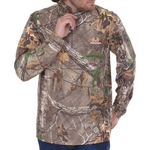 Men's 1 4 Zip Long Sleeve Camo Performance Top Mossy Oak Country by INTRADECO