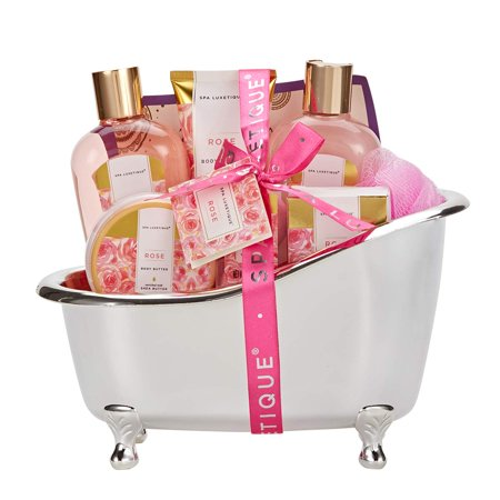 Spa Gift Basket, Rose Bath Gift Baskets, Luxury 8 Pcs Bath Gifts for Women
