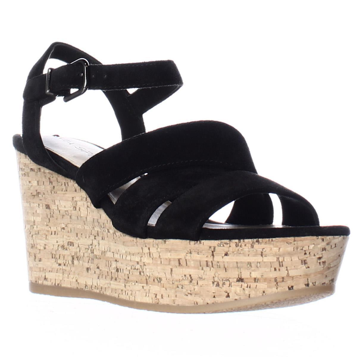 Womens Via Spiga Kendall Platform Wedge Strappy Sandals, Black