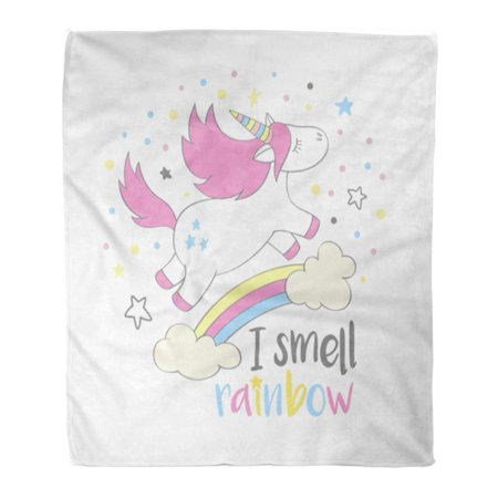 HATIART Flannel Throw Blanket Magic Cute Unicorn in Cartoon Hand Lettering I Smell Rainbow Doodle Flying Above and Clouds Kids 50x60 Inch Lightweight Cozy Plush Fluffy Warm Fuzzy Soft - image 1 of 4