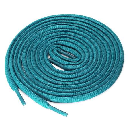 "2 Pairs Unisex Oval Half Round Shoelaces Sneakers Peacock Blue 140 cm/55"" - image 4 de 4"