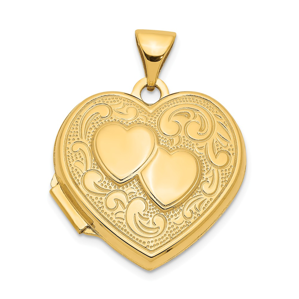 14K Yellow Gold Double Heart Locket (24mm x 19mm)