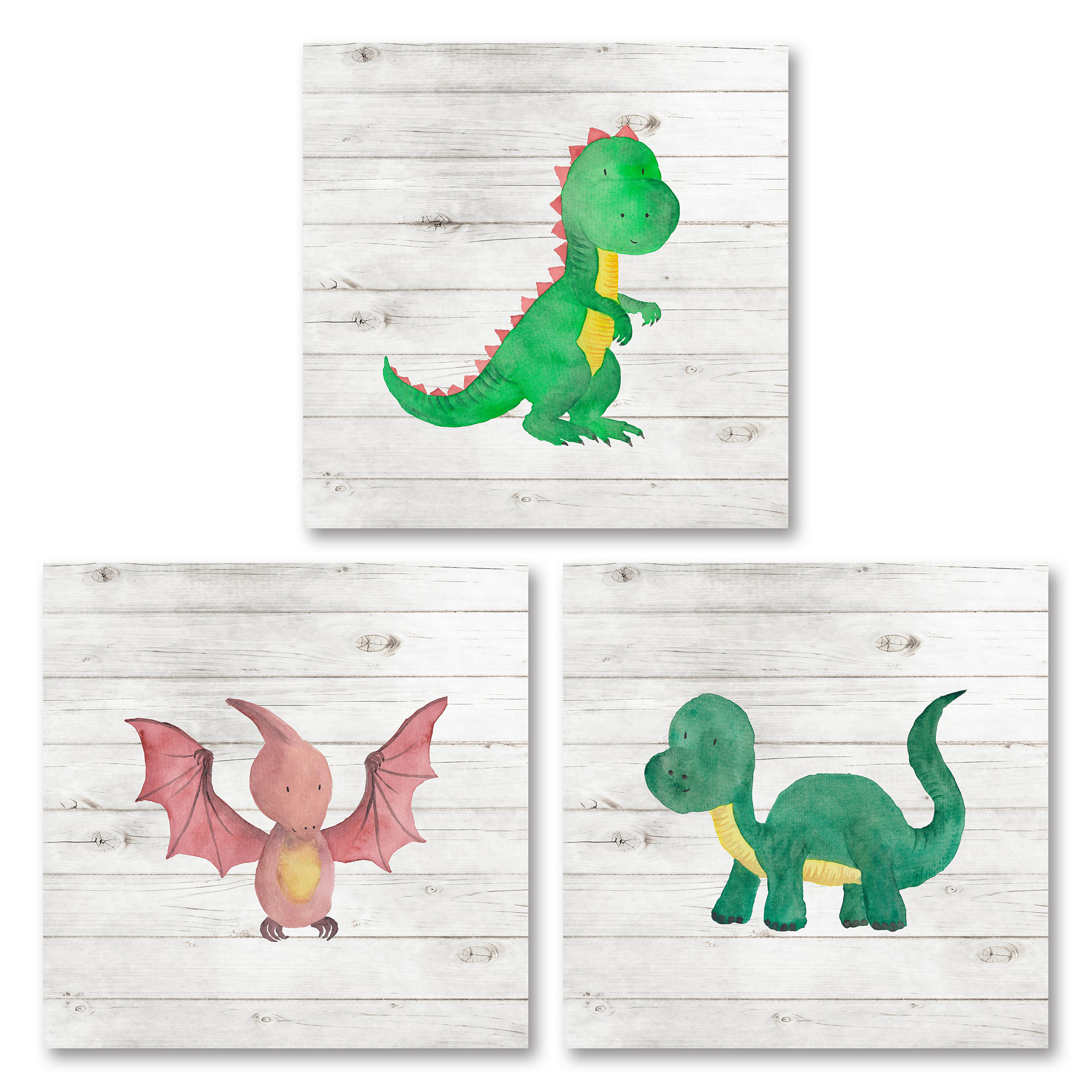 Adorable Baby Dinosaur Set (Printed On Paper), Perfect for a Child's Room or Nursery; Three 8x8in Unframed Paper Posters