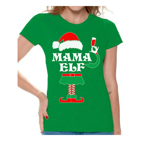 Awkward Styles Mama Elf Shirt Elf Christmas Shirts for Women Elf Christmas T-shirt Christmas Elf Shirt Women's Holiday Top Funny Elf Tacky Christmas Party Christmas Holiday Shirt - Womens Christmas Suits