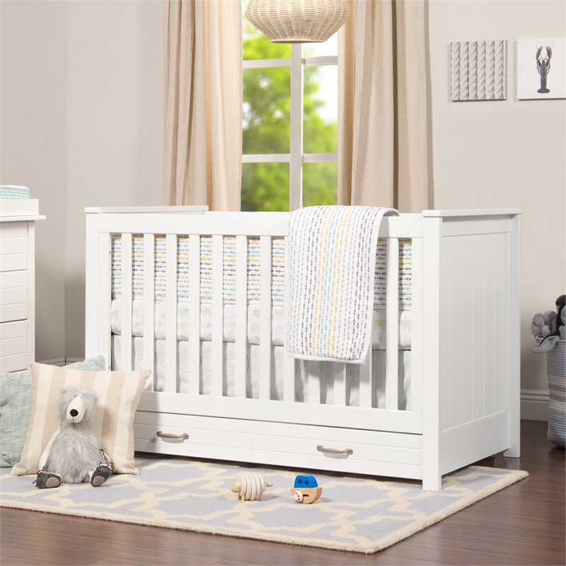 Asher 3-in-1 Convertible Crib with Toddler Bed Conversion Kit - White