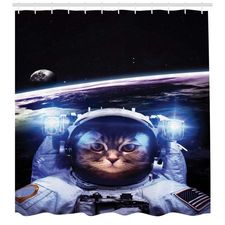Cat Shower Curtain, Funny Astronaut Cat above Earth in Outer Space Explorer Kitty Mission Humor Art Image, Fabric Bathroom Set with Hooks, Blue White, by