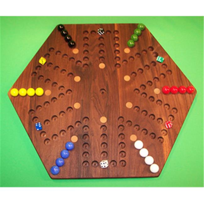 Charlies Woodshop W-1938alt.-2 Wooden Marble Game Board Black Walnut with 12 Birch Inlaid... by Charlies Woodshop