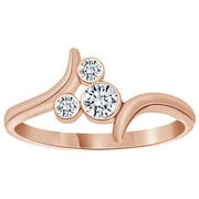 Cubic Zirconia Bypass Mickey Mouse Ring in 14k Rose Gold Over Sterling Silver By Jewel Zone US