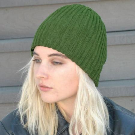 Rib Beenie Hat (Rib Knit Beanie Hat - ONE SIZE FITS MOST - Olive Green)