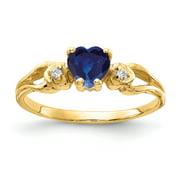 Primal Gold 14 Karat 5mm Heart Sapphire and Diamond Ring