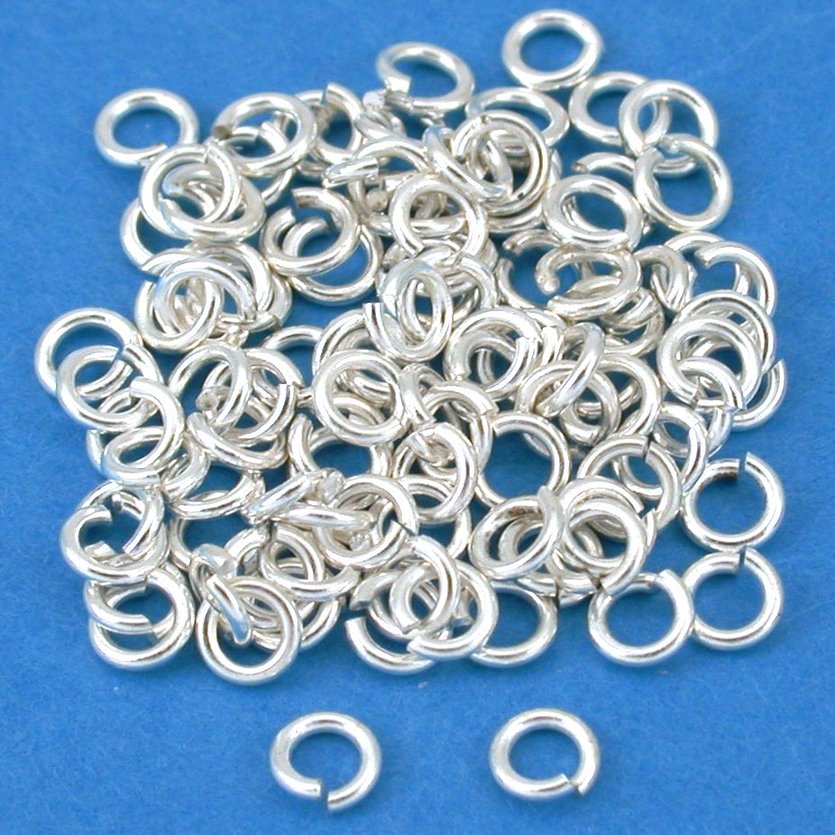 100 Silver Plated 4mm Open Jump Rings 22 Ga