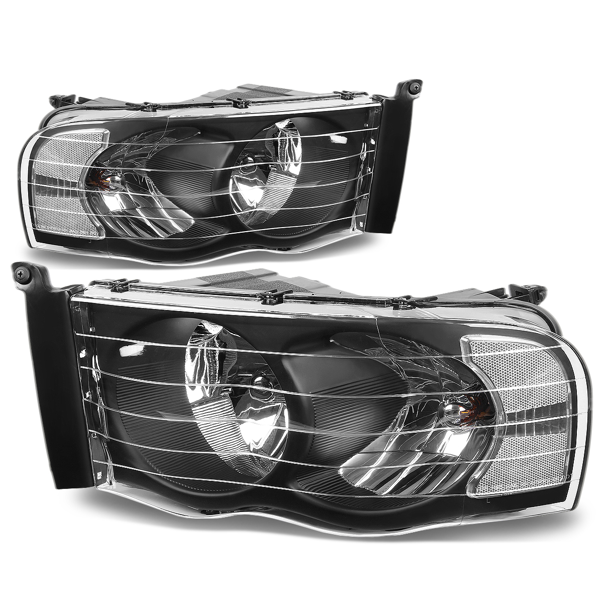 For 02-05 Dodge Ram Pair of Black Housing HeadLight Head Lamp Light - 3rd Gen DR/DH/D1/DC/DM 03 04