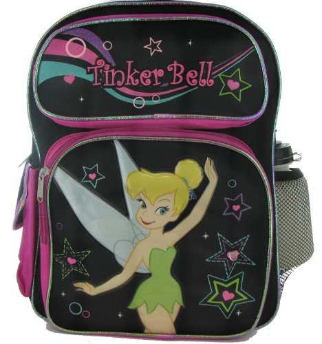 Disney Fairies Tinkerbell Pink Accent Backpack with Water Bottle