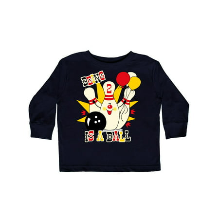 Cute Bowling Pin 2nd Birthday Toddler Long Sleeve T-Shirt