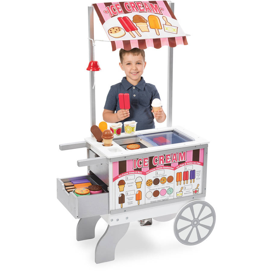 Image of Melissa & Doug Wooden Snacks and Sweets Food Cart - 40+ Play Food pcs, Reversible Awning