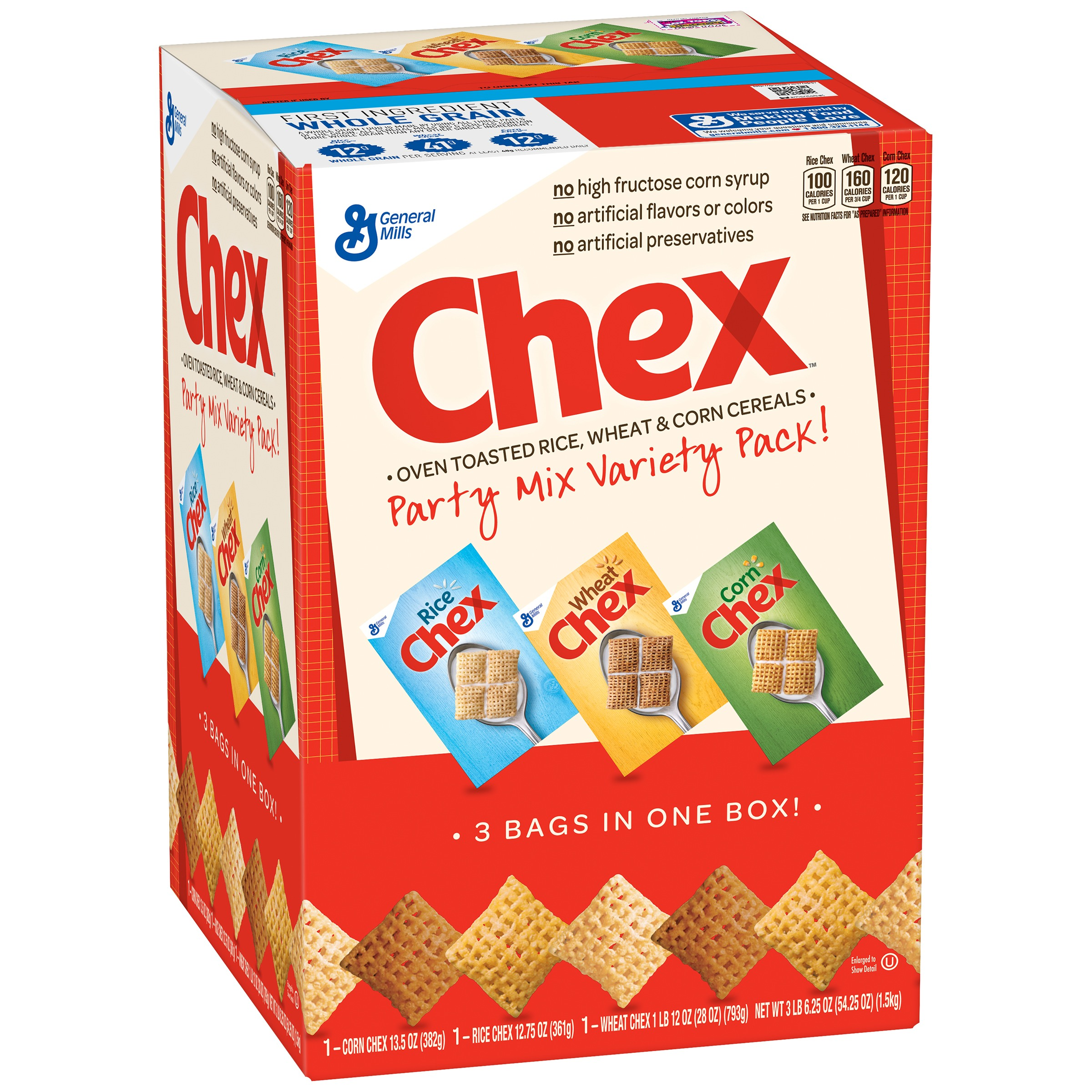Corn Rice Wheat Chex Cereal Party Mix Variety Pack 54.25 oz. Box by General Mills Sales, Inc.
