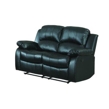 Swell Trent Home Cranley Double Reclining Leather Love Seat In Black Creativecarmelina Interior Chair Design Creativecarmelinacom