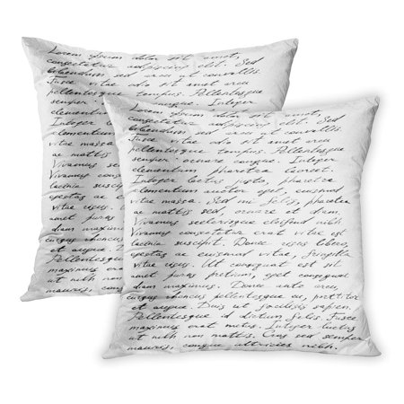 ECCOT Handwritten Handwriting Old Letter Latin Text Note Write Alphabet Page English PillowCase Pillow Cover 18x18 inch Set of 2 - Old English Letter Alphabet