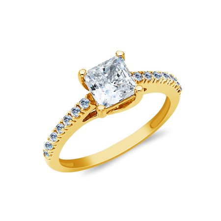 0adfff94a Ioka - 14K Yellow Solid Gold 1 Ct. Princess Cut Solitaire Cubic Zirconia CZ  with Side Stones Wedding Engagement Ring - size 9 - Walmart.com