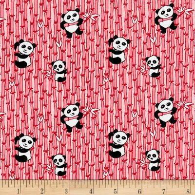 Panda Love~Panda Toss Pink, Cotton Fabric by Riley