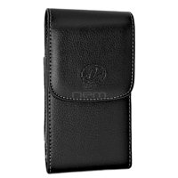Apple IPHONE SE LARGE Premium High Quality Vertical Leather Pouch Holster with Magnetic Closure and Swivel Belt Clip - FITS w/ OTTERBOX CASE ON THE PHONE