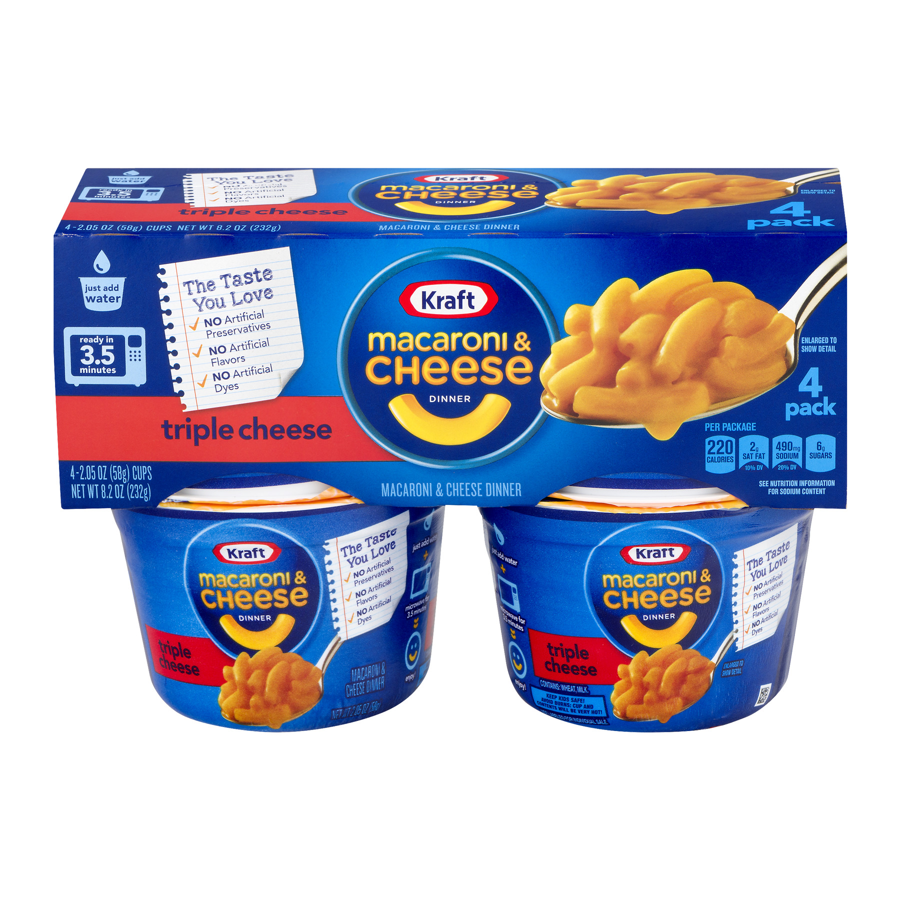 Kraft Macaroni & Cheese Dinner Triple Cheese - 4 PK, 2.05 OZ