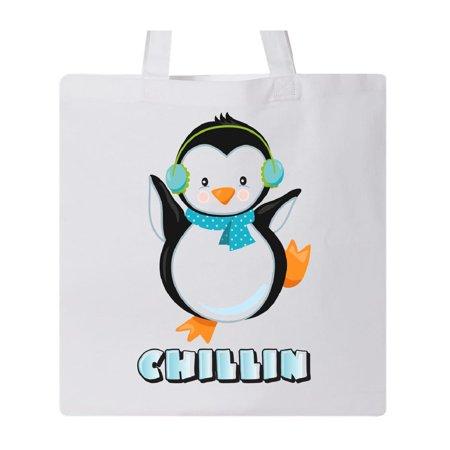 Chillin Penguin Tote Bag White One Size