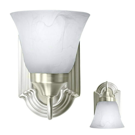 - Bennington Luna Wall Sconce Light Fixture Single Light Vanity, Brushed Nickel