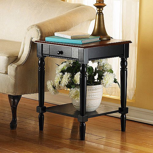 French Country End Table, Cherry/Black