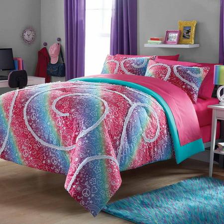 Your Zone Rainbow Ruffle Comforter And Sham Set Walmart Com