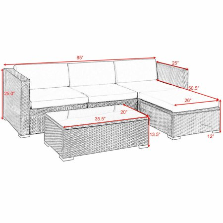 5PCS Rattan Wicker Table Shelf Garden Sofa Patio Furniture Set W/ Cushion Black - image 7 de 9