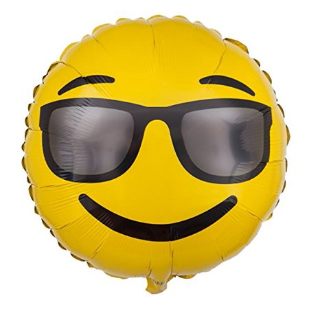 Emoji Sunglasses Balloon - 18 Inch Emoji Mylar Balloon - 1 - Cool Sunglasses Emoji