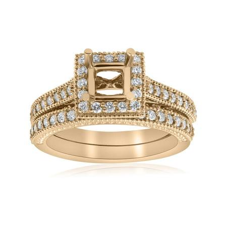 Yellow Gold Princess Cut Diamond Princess Cut Halo Engagement Ring Semi Mount