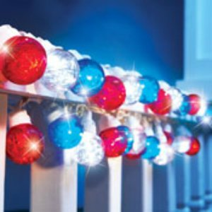 LED Lighted Patriotic 4th of July Red White Blue Tinsel Globe String Lights