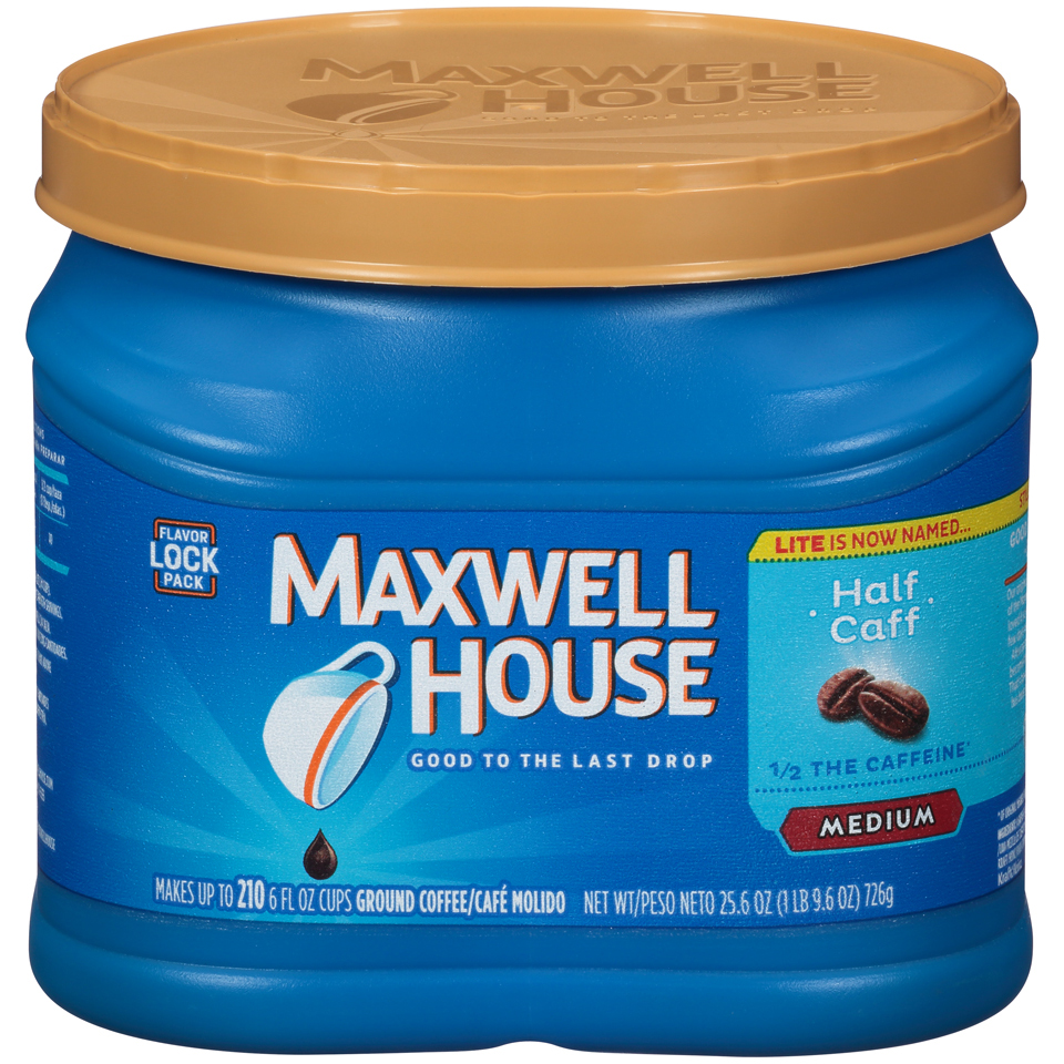 Maxwell House Medium Roast Half Caffeine Ground Coffee, 25.6 Oz