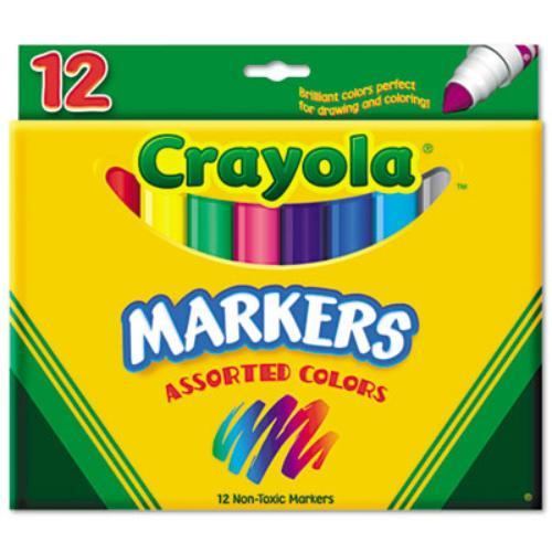 Crayola Conical Tip Classic Markers - Broad Marker Point Type - Conical Marker Point Style - Red, Orange, Yellow, Green, Blue, Violet, Brown, Black, Gray, Flamingo Pink, Blue Ink - 12 / Set (587712)