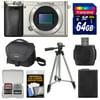 Sony Alpha A6000 Wi-Fi Digital Camera Body (Silver) with 64GB Card + Case + Battery + Tripod + Accessory Kit