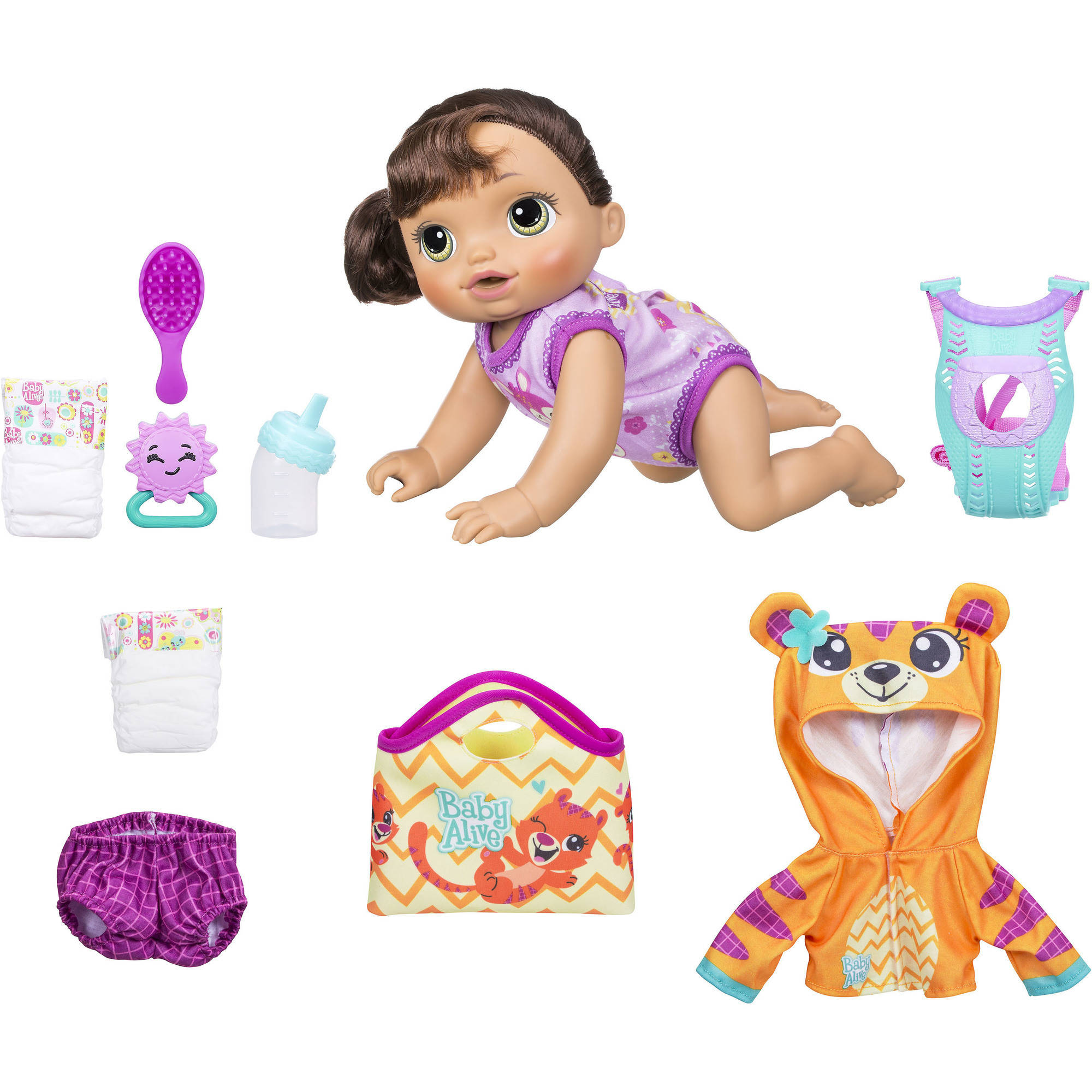 Baby Alive Baby Go Bye Bye - Brunette Hair (Exclusive Value Bundle)