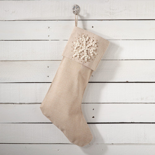 Saro Snowflake Hand Knotted Design Christmas Stocking