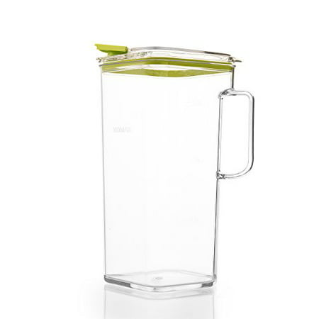 Komax Tritan Plastic Pitcher With Lid | 60-oz (1.8-quart) Water Pitcher With Green Lid | Compact Water, Tea, Lemonade, Milk, Sangria Pitcher | Space Saving Water Pitcher | BPA-Free Plastic Carafe ()