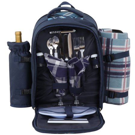 Zeny 2 Person Picnic Backpack Basket Waterproof Insulated Compartment Bag with Blanket