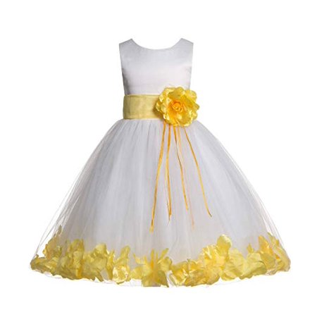 Ekidsbridal ivory tulle floral rose petals formal flower girl dress this button opens a dialog that displays additional images for this product with the option to zoom in or out mightylinksfo