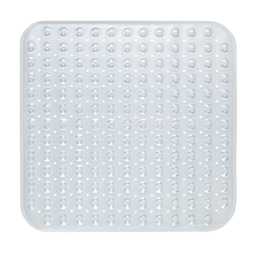 "Stall Size""Bubble"" Look Vinyl Bath Mat in clear."