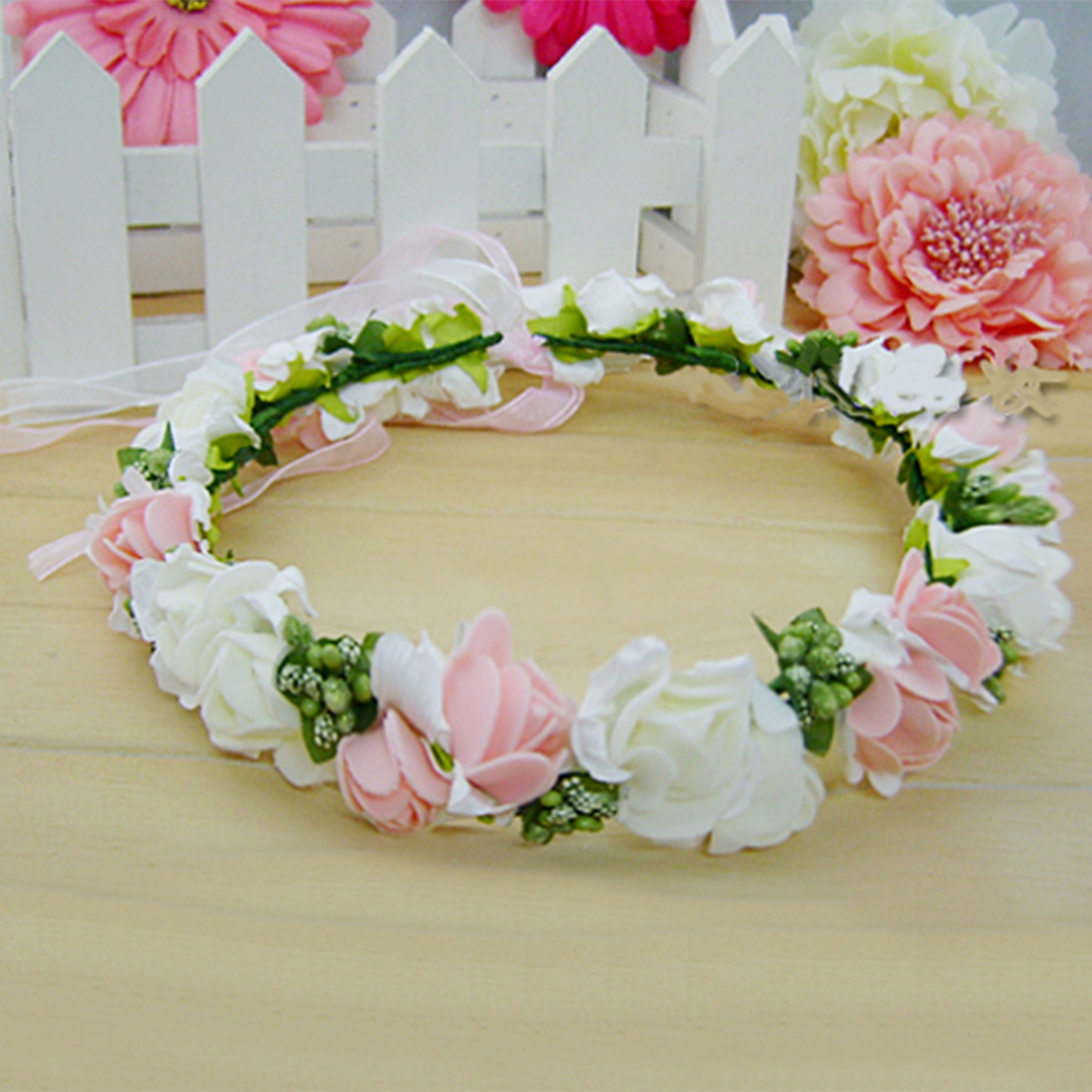 Elegant Bridal Wreath Flower Headband Hair Band Floral Crown Garland for Festival Wedding Beach - Pink + White