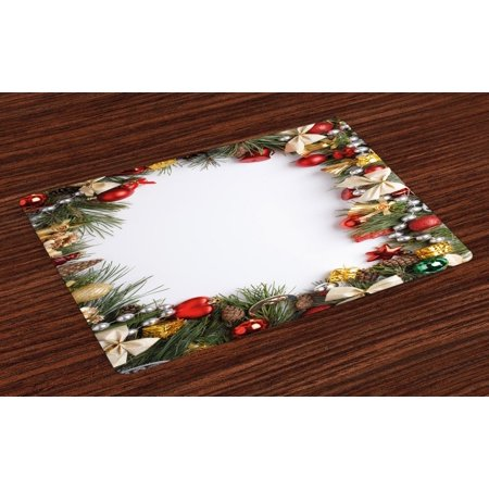 Christmas Placemats Set of 4 Dressed New Year Tree Bedizen Garnished Fir Needles Spruce Yuletide Border Print, Washable Fabric Place Mats for Dining Room Kitchen Table Decor,Multicolor, by Ambesonne