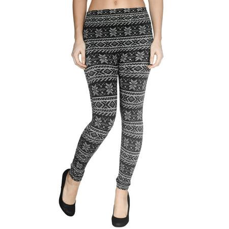 bcdbac4c87379a Simplicity - Juniors' Winter Warm Snowflake Legging Stretchy Fleece Lined  Pants Tights - Walmart.com