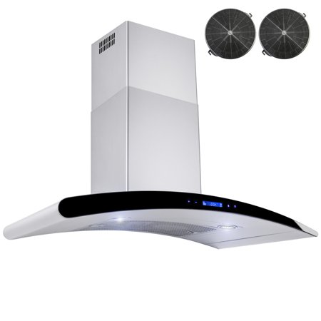 "AKDY 30"" Wall Mount Stainless Steel Ductless/Ventless Range Hood Vent Touch Control with Carbon Filters"
